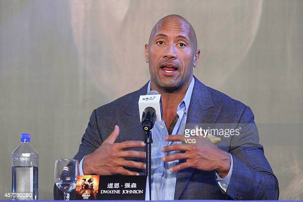 """Actor Dwayne Johnson attends a press conference for the new movie """"Hercules"""" on October 16, 2014 in Beijing, China."""