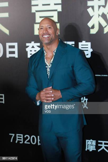 Actor Dwayne Johnson attends 'Skyscraper' premiere on July 2 2018 in Beijing China