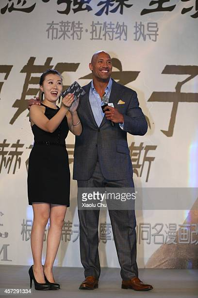 Actor Dwayne Johnson attends the Chinese Media Conference of 'Hercules' at the China World Summit Wing Hotel on October 16 2014 in Beijing China