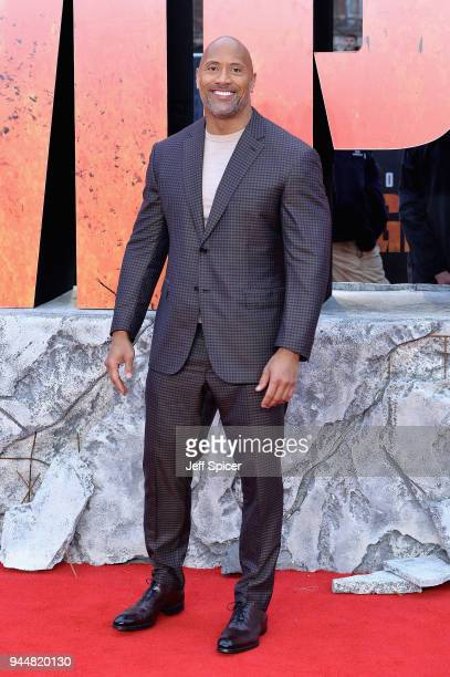 Actor Dwayne Johnson attends the European Premiere of 'Rampage' at Cineworld Leicester Square on April 11 2018 in London England