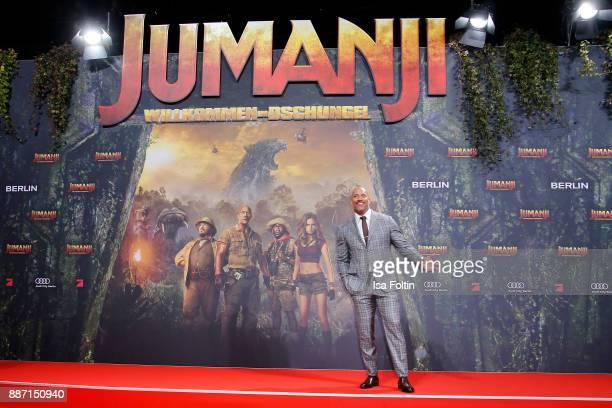 US actor Dwayne Johnson attends the German premiere of 'Jumanji Willkommen im Dschungel' at Sony Centre on December 6 2017 in Berlin Germany