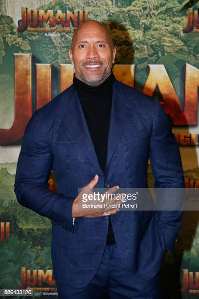 Actor Dwayne Johnson attends the 'Jumanji Welcome to the Jungle Jumanji Bienvenue dans la jungle' Paris Premiere at Le Grand Rex on December 5 2017...
