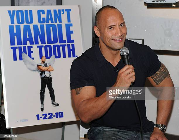 Actor Dwayne Johnson attends the NHL Powered by Reebok Store to promote Tooth Fairy on January 20 2010 in New York City