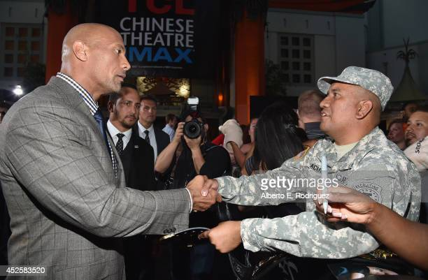 Actor Dwayne Johnson attends the premiere of Paramount Pictures' 'Hercules' at TCL Chinese Theatre on July 23 2014 in Hollywood California
