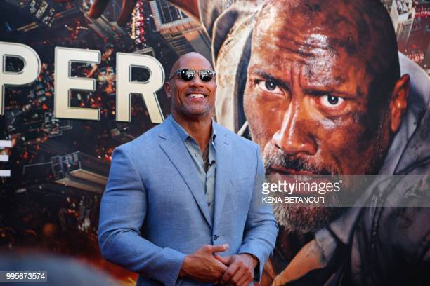 US actor Dwayne Johnson attends the premiere of Skyscraper on July 10 2018 in New York City