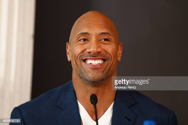 Actor Dwayne Johnson attends the press conference of Paramount Pictures 'HERCULES' at Hotel Adlon on August 21 2014 in Berlin Germany