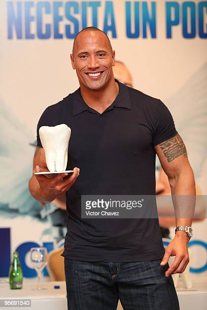 Actor Dwayne Johnson attends the Tooth Fairy press conference and photocall at the Four Seasons Hotel on January 11 2010 in Mexico City Mexico