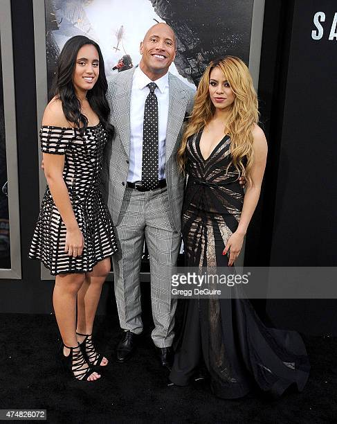 Actor Dwayne Johnson daughter Simone Alexandra Johnson and singer Dinah Jane Hansen of Fifth Harmony arrive at the Los Angeles premiere of 'San...
