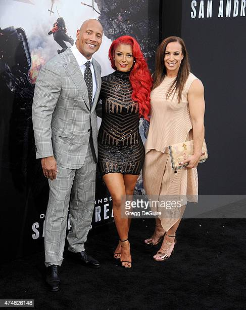Actor Dwayne Johnson Eva Marie and Dany Garcia arrive at the Los Angeles premiere of 'San Andreas' at TCL Chinese Theatre IMAX on May 26 2015 in...