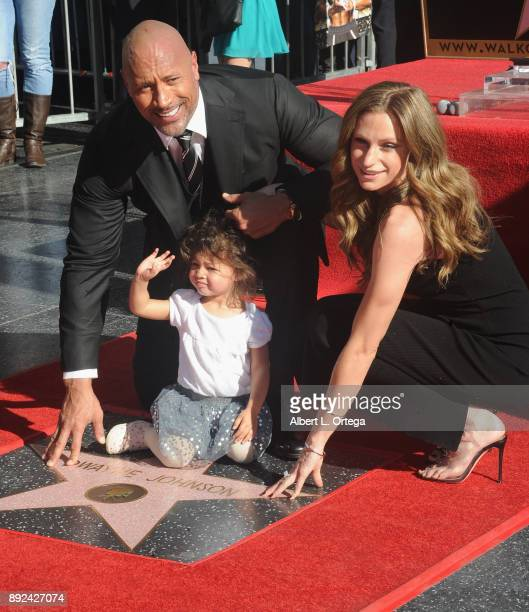 Actor Dwayne Johnson Jasmine Johnson and singer Lauren Hashian at the Dwayne Johnson Star Ceremony On The Hollywood Walk Of Fame held on December 13...