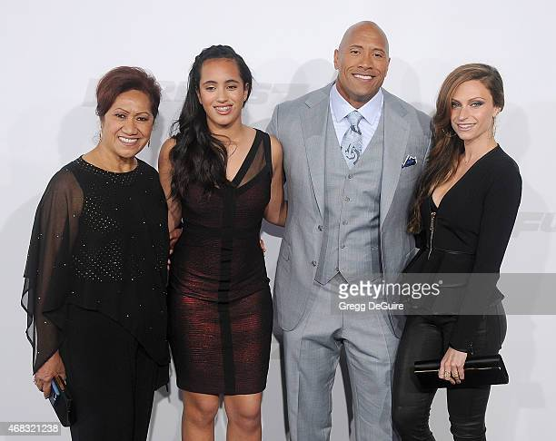 Actor Dwayne Johnson mom Ata Johnson daughter Simone Alexandra Johnson and Lauren Hashian arrive at the Los Angeles premiere of 'Furious 7' at TCL...