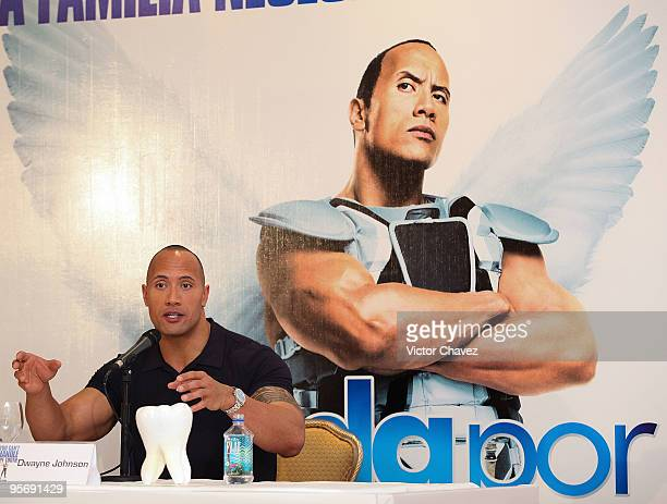 Actor Dwayne Johnson speaks during the Tooth Fairy press conference at the Four Seasons Hotel on January 11 2010 in Mexico City Mexico