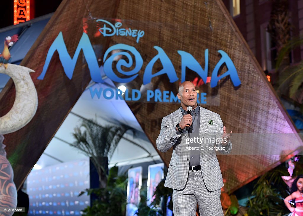 Actor Dwayne Johnson speaks onstage at The World Premiere of Disney's 'MOANA' at the El Capitan Theatre on Monday, November 14, 2016 in Hollywood, CA.