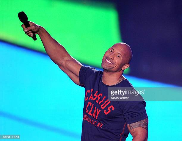 Actor Dwayne Johnson speaks onstage during Nickelodeon Kids' Choice Sports Awards 2014 at UCLA's Pauley Pavilion on July 17 2014 in Los Angeles...