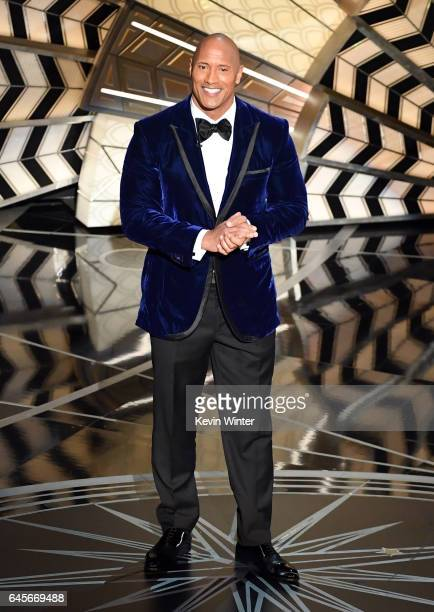 Actor Dwayne Johnson speaks onstage during the 89th Annual Academy Awards at Hollywood Highland Center on February 26 2017 in Hollywood California