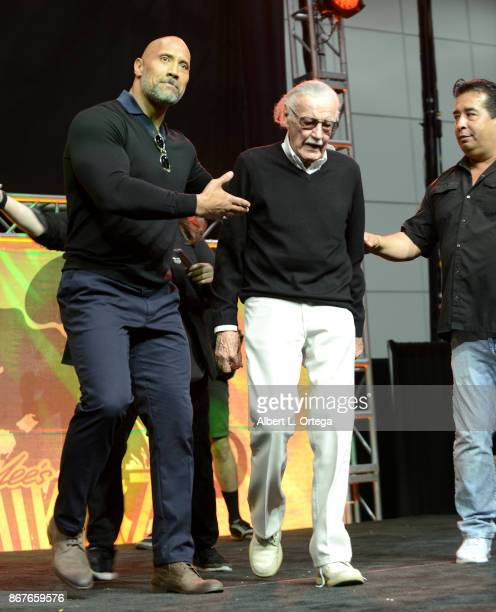 Actor Dwayne 'The Rock' Johnson and Comic book Icon Stan Lee on day 2 of Stan Lee's Los Angeles Comic Con 2017 held at Los Angeles Convention Center...