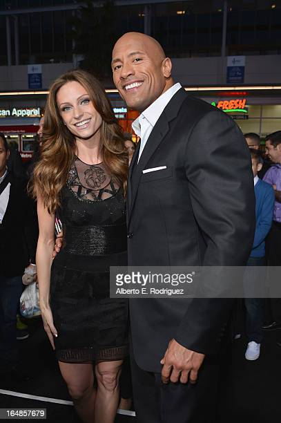 "Actor Dwayne ""The Rock"" Johnson and Lauren Hashian attend the premiere of Paramount Pictures' ""G.I. Joe: Retaliation"" at TCL Chinese Theatre on March..."
