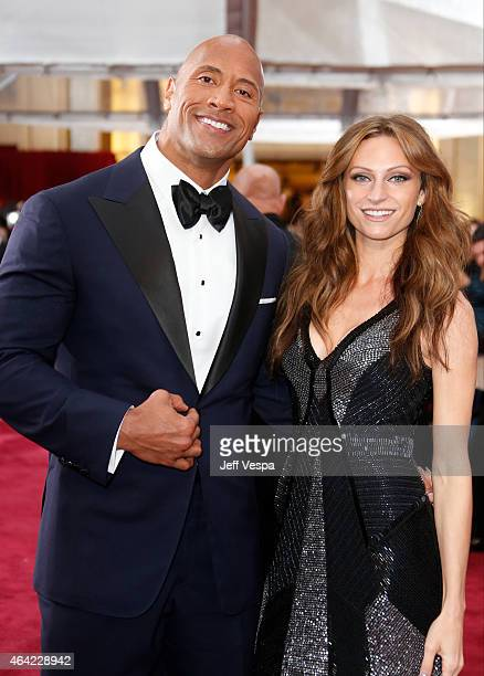 Actor Dwayne 'The Rock' Johnson and singer Lauren Hashian arrive at the 87th Annual Academy Awards at Hollywood Highland Center on February 22 2015...