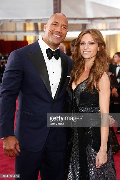 "Actor Dwayne ""The Rock"" Johnson and singer Lauren Hashian attend the 87th Annual Academy Awards at Hollywood & Highland Center on February 22, 2015..."
