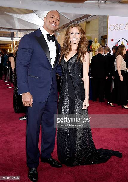Actor Dwayne 'The Rock' Johnson and singer Lauren Hashian attend the 87th Annual Academy Awards at Hollywood & Highland Center on February 22, 2015...