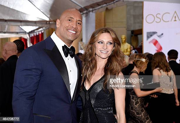 Actor Dwayne 'The Rock' Johnson and singer Lauren Hashian attends the 87th Annual Academy Awards at Hollywood Highland Center on February 22 2015 in...