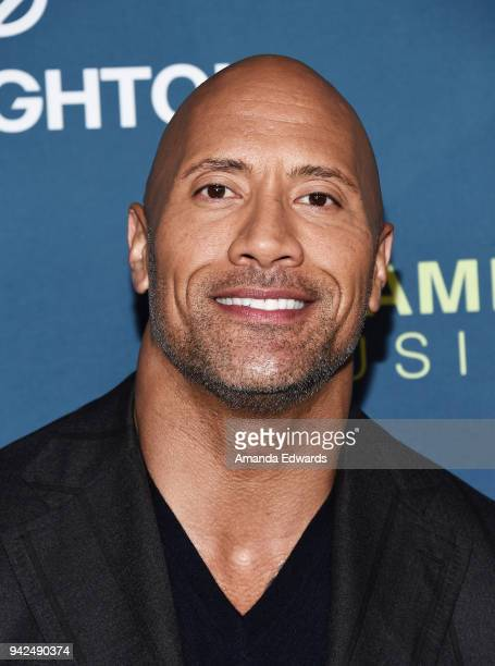 Actor Dwayne The Rock Johnson arrives at the 2018 LA Family Housing Awards at The Lot in West Hollywood on April 5 2018 in West Hollywood California