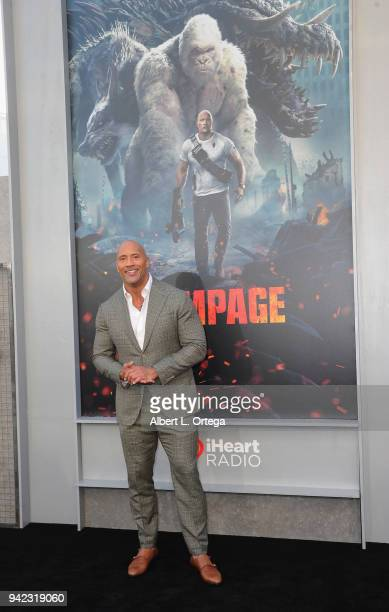Actor Dwayne 'The Rock' Johnson arrives for the Premiere Of Warner Bros Pictures' 'Rampage' held at Microsoft Theater on April 4 2018 in Los Angeles...