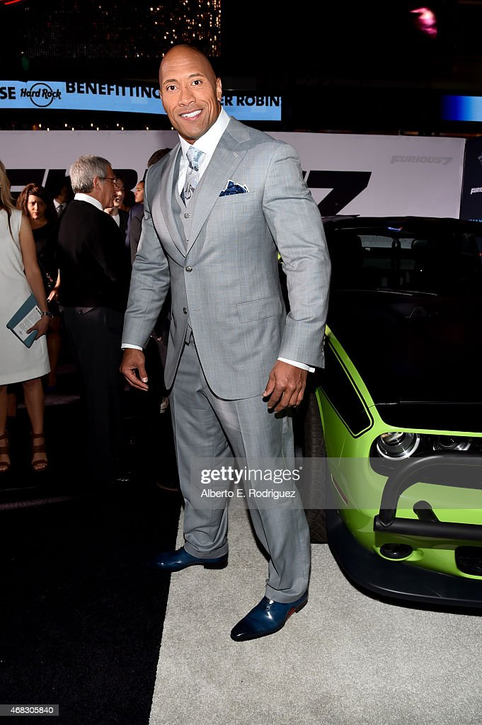 Actor Dwayne 'The Rock' Johnson attends Universal Pictures' 'Furious 7' premiere at TCL Chinese Theatre on April 1, 2015 in Hollywood, California.