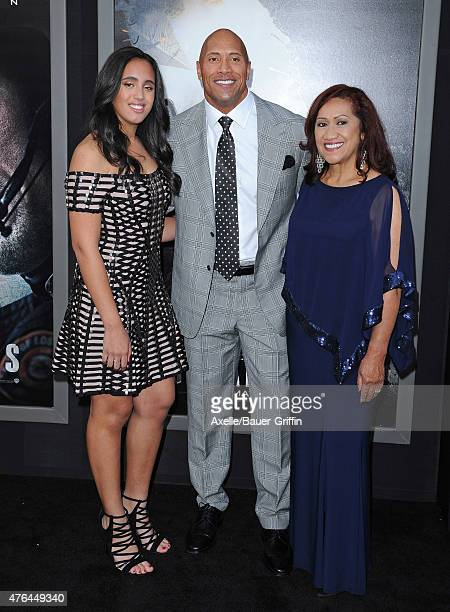 Actor Dwayne 'The Rock' Johnson daughter Simone Alexandra Johnson and mom Ata Johnson arrive at the Premiere Of Warner Bros Pictures' 'San Andreas'...