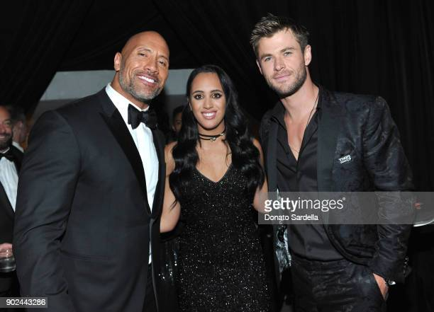Actor Dwayne 'The Rock' Johnson Golden Globe Ambassador Simone Garcia Johnson and actor Chris Hemsworth attend the 2018 InStyle and Warner Bros 75th...