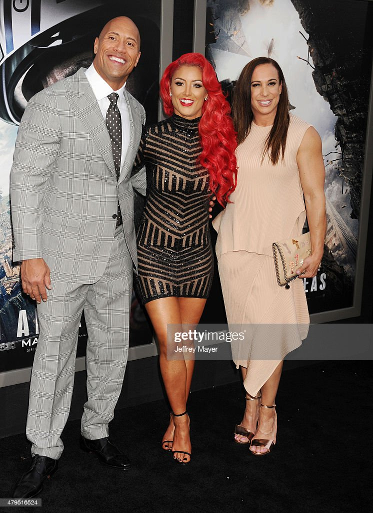 Actor Dwayne 'The Rock' Johnson, WWE Diva Eva Marie and producer Dany Garcia arrive at the 'San Andreas' - Los Angeles Premiere at TCL Chinese Theatre IMAX on May 26, 2015 in Hollywood, California.