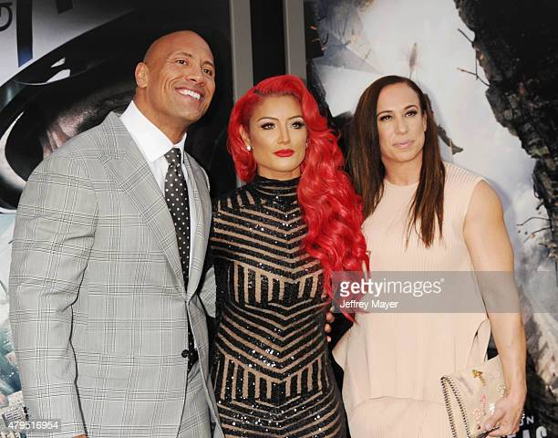 Actor Dwayne 'The Rock' Johnson WWE Diva Eva Marie and producer Dany Garcia arrive at the 'San Andreas' Los Angeles Premiere at TCL Chinese Theatre...