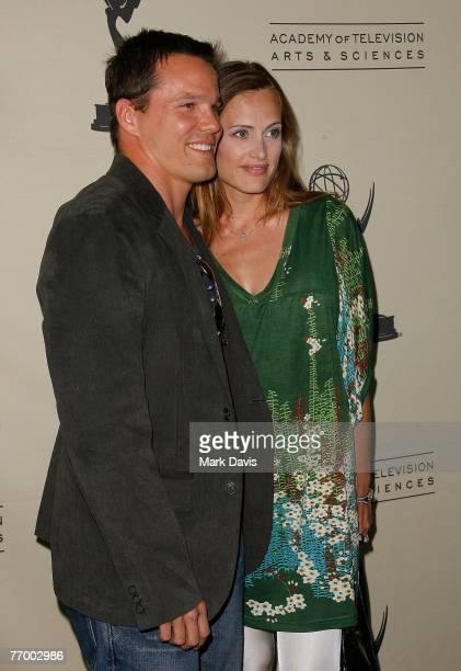 Actor Dylan Bruno and wife Emmeli Hultquist attends the An Evening with Numbers at the Academy of Television Arts & Sciences on September 24, 2007 in...