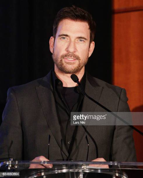 Actor Dylan McDermott addressing the audience on stage during the 2017 Athena Film Festival Awards Ceremony at Barnard College on February 10 2017 in...