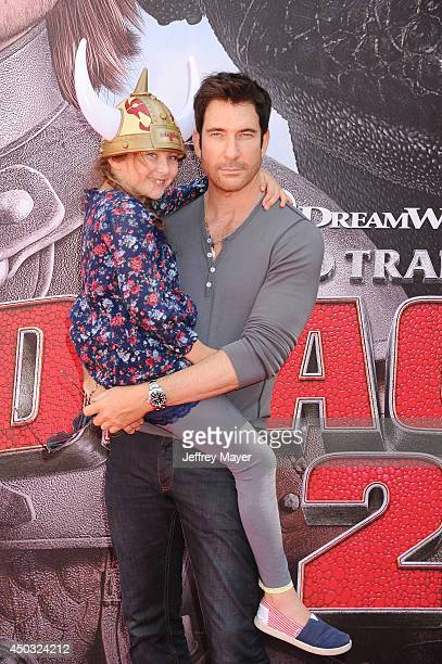 Actor Dylan McDermott and daughter Charlotte Rose McDermott arrive at the Los Angeles premiere of 'How To Train Your Dragon 2' at the Regency Village...