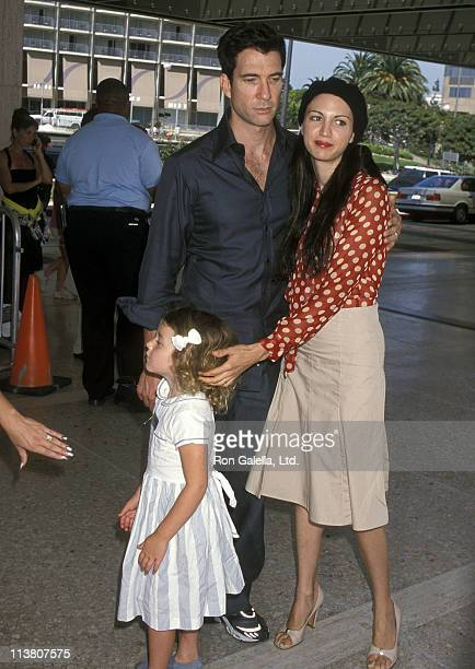 Actor Dylan McDermott wife Shiva Rose and daughter Colette McDermott attend the Thomas and the Magic Railroad Century City Premiere on July 22 2000...