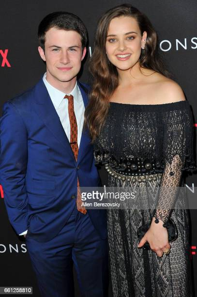 Actor Dylan Minnette and actress Katherine Langford attend the Premiere of Netflix's '13 Reasons Why' at Paramount Pictures on March 30 2017 in Los...