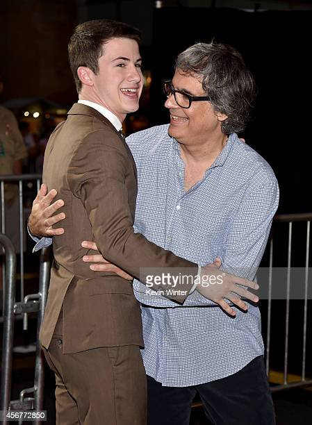 Actor Dylan Minnette and director Miguel Arteta attend the premiere of Disney's Alexander and the Terrible Horrible No Good Very Bad Day at the El...