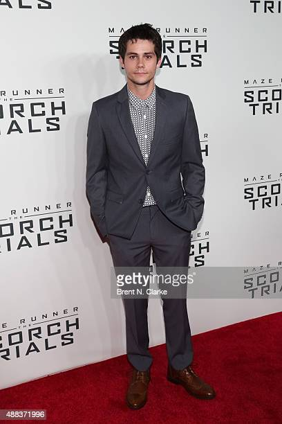 Actor Dylan O'Brien arrives at 'Maze Runner The Scorch Trials' New York premiere held at Regal EWalk on September 15 2015 in New York City