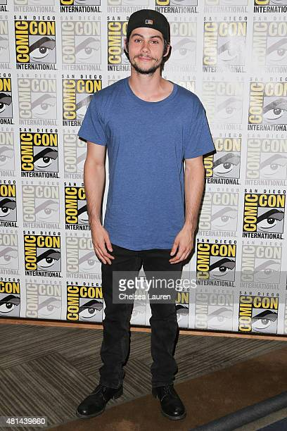Actor Dylan O'Brien arrives at the 'Maze Runner' press room on July 11 2015 in San Diego California