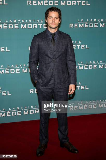 Actor Dylan O'Brien attends the 'Maze Runner The Death Cure' Premiere at Le Grand Rex on January 24 2018 in Paris France