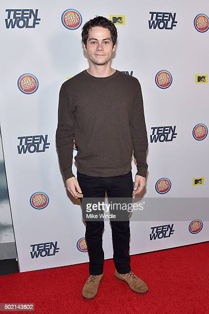 Actor Dylan O'Brien attends the MTV Teen Wolf Los Angeles premiere party at Dave Busters on December 20 2015 in Hollywood California