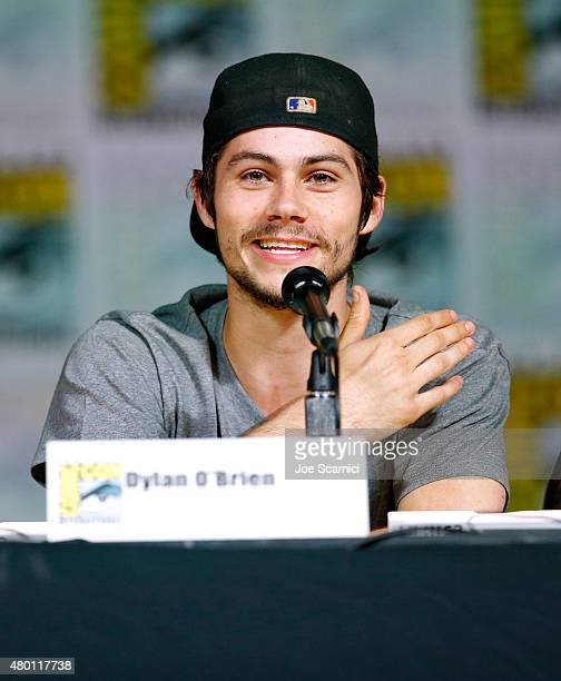 Actor Dylan O'Brien speaks onstage at MTV's 'Teen Wolf' panel during ComicCon International 2015 at the San Diego Convention Center on July 9 2015 in...