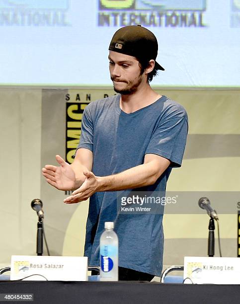 Actor Dylan O'Brien speaks onstage at the 20th Century FOX panel during ComicCon International 2015 at the San Diego Convention Center on July 11...