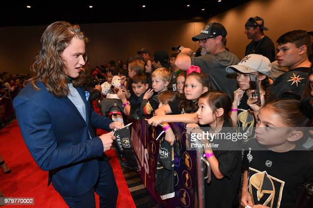 Actor Dylan Playfair signs autographs for fans as he arrives at the 2018 NHL Awards presented by Hulu at the Hard Rock Hotel Casino on June 20 2018...