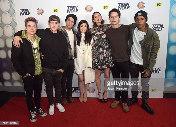 Actor Dylan Sprayberry Cody Christian Tyler Posey Arden Cho Shelley Hennig Dylan O'Brien and Khylin Rhambo attend the MTV Teen Wolf Los Angeles...