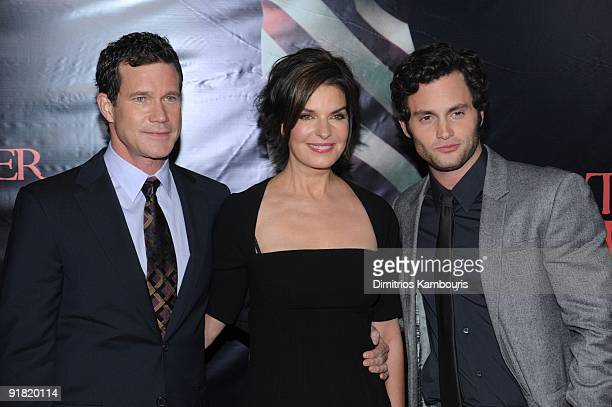 Actor Dylan Walsh actress Sela Ward and actor Penn Badgley attend the premiere of The Stepfather at the SVA Theater on October 12 2009 in New York...