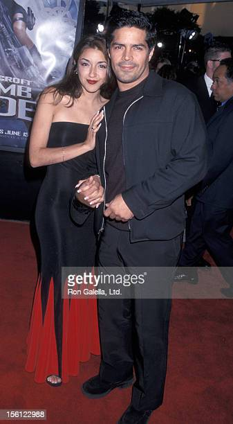 Actor Easi Morales and date attending the world premiere of 'Lara Croft: Tomb Raider' on June 11, 2001 at Mann Village Theater in Westwood,...
