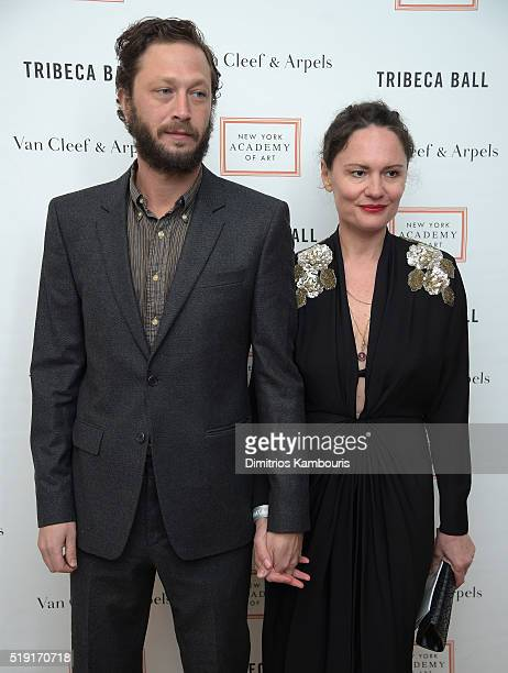 Actor Ebon MossBachrach and photographer Yelena Yemchuk attend New York Academy Of Art's Tribeca Ball 2016 on April 4 2016 in New York City