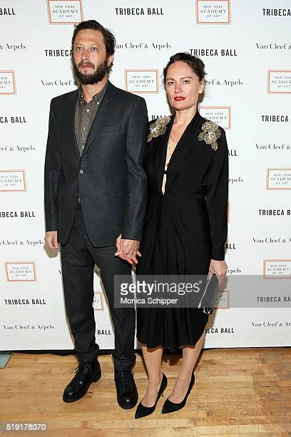 Actor Ebon MossBachrach and photographer Yelena Yemchuk attend the New York Academy Of Art's Tribeca Ball 2016 on April 4 2016 in New York City